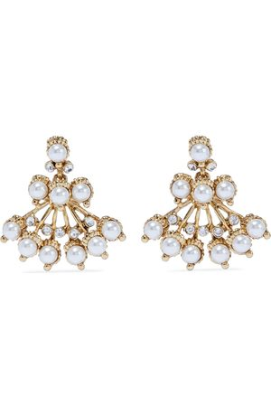 KENNETH JAY LANE Woman -plated Crystal And Faux Pearl Earrings Size
