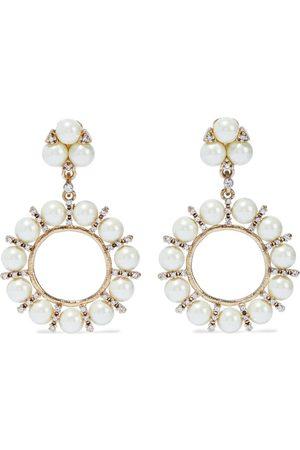 Kenneth Jay Lane Women Earrings - Woman -plated Crystal And Faux Pearl Earrings Size