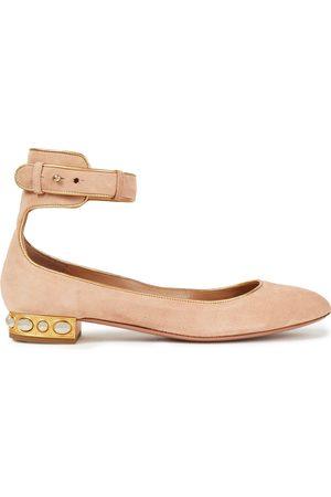 Aquazzura Women Ballerinas - Woman Lucky Star Metallic-trimmed Suede Ballet Flats Blush Size 37