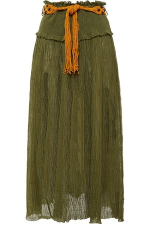 ZIMMERMANN Women Midi Skirts - Woman Belted Bead-embellished Ramie And Cotton-blend Midi Skirt Army Size 0