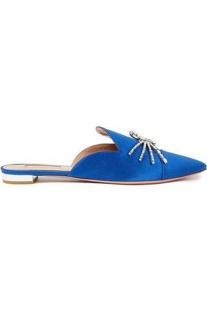 Aquazzura Women Slippers - Woman Crystal-embellished Satin Slippers Cobalt Size 38.5