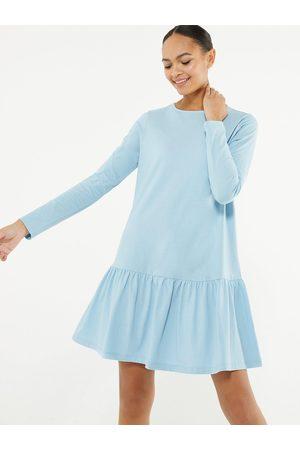New Look Pale Blue Jersey Drop Hem Smock Mini Dress