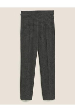Marks & Spencer Womens Jersey Houndstooth Slim Fit Trousers - 6SHT - Charcoal Mix, Charcoal Mix