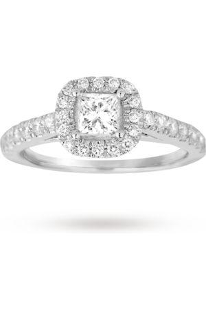 GOLDSMITHS Women Rings - Princess Cut 1.00 Total Carat Weight Diamond Halo Ring With Diamond Set Shoulders In 18 Carat White Gold - Ring Size N