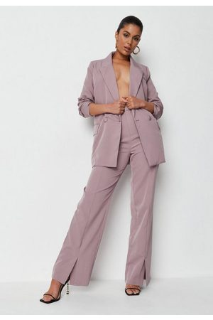 Missguided Recycled Mauve Wide Leg Trousers, Mauve