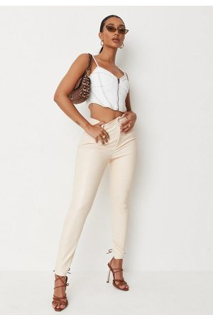 Missguided Cream Faux Leather Slim Leg Trousers, Cream