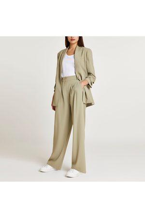 River Island Womens Khaki wide leg smart trousers