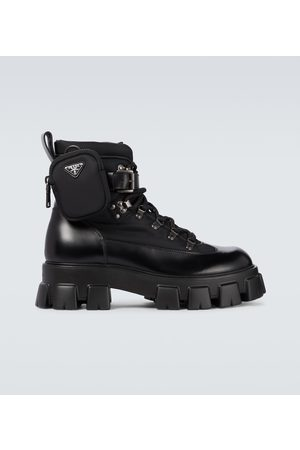 Prada Monolith brushed leather and nylon boots