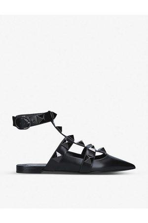 VALENTINO GARAVANI Women Sandals - Roman Stud pointed-toe leather mules