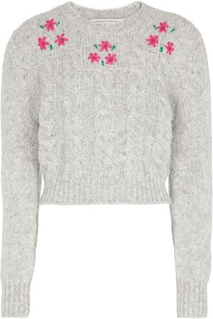 Alessandra Rich Cable knit crewneck sweater