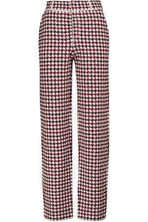 Barrie Houndstooth cashmere and wool slim pants