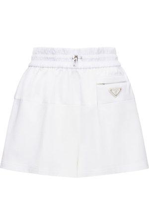 Prada Logo Intarsia Nylon Jersey Mini Shorts