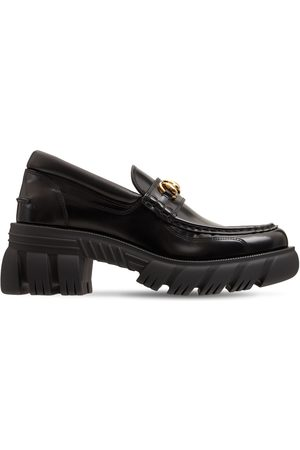 GUCCI 40mm Romance Brushed Leather Loafers