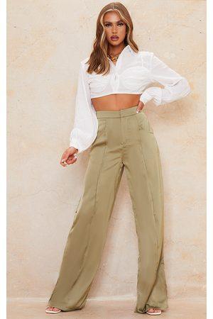 PRETTYLITTLETHING Women Wide Leg Trousers - Olive Satin Pintuck Pocket Detail Wide Leg Trousers