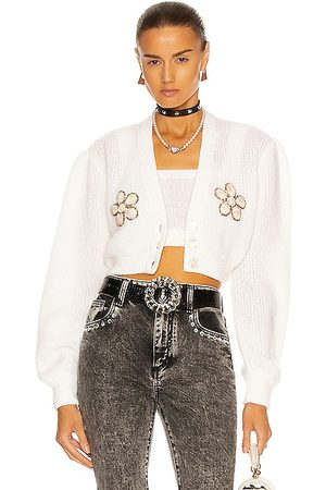 Alessandra Rich Cropped Flower Cardigan in