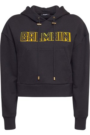 Balmain Jersey Embossed Logo Hoodie