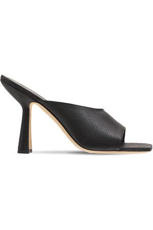 By Far 100mm Zaya Grained Leather Mules