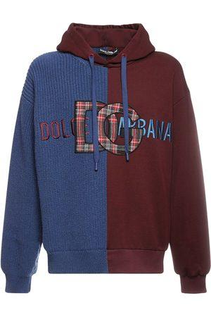 DOLCE & GABBANA Logo Two Tone Wool Knit & Cotton Hoodie