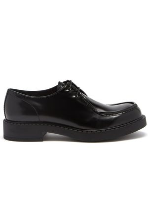 Prada Brushed-leather Derby Shoes - Mens
