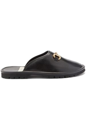 Gucci Men Loafers - Elea Horsebit Leather Backless Loafers - Mens
