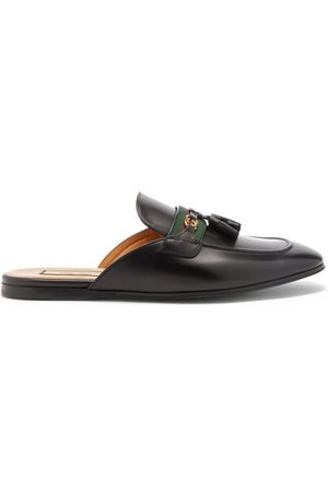 Gucci Men Loafers - Paride Web-striped Leather Backless Loafers - Mens