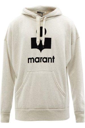 Isabel Marant Miley Flocked-logo Cotton-blend Hooded Sweatshirt - Mens - Cream