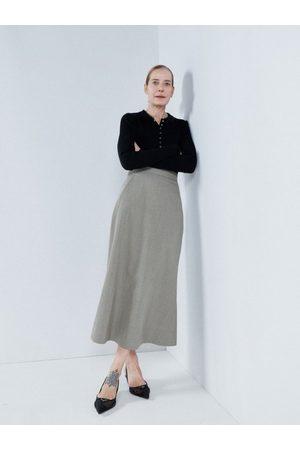 Raey High-waist Virgin-wool A-line Skirt - Womens - Khaki