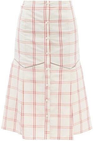 BROCK COLLECTION Women Midi Skirts - Tania Windowpane-check Linen-blend Midi Skirt - Womens