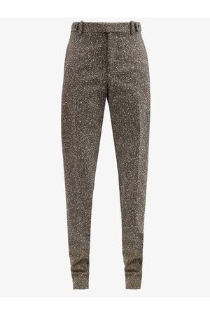 Bottega Veneta High-rise Herringbone-twill Straight-leg Trousers - Womens