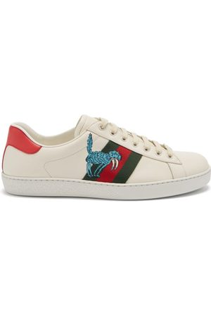 Gucci Ace Creature-patch Leather Trainers - Mens - Multi