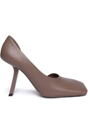 Balenciaga Women Heels - Void Square-toe Leather D'orsay Pumps - Womens - Nude