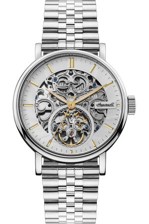 Ingersoll Men Watches - Charles And Gold Detail Skeleton Automatic Dial Stainless Steel Bracelet Mens Watch