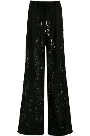 Andrea Bogosian Women Wide Leg Trousers - Floral-lace flared trousers