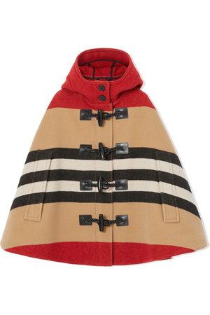 Burberry Kids Girls Ponchos & Capes - Icon stripe duffle cape