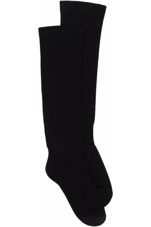 Rick Owens Intarsia-knit logo knee-length socks