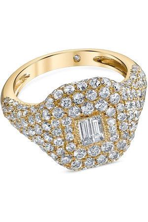 Shay 18kt yellow diamond baguette pavé ring