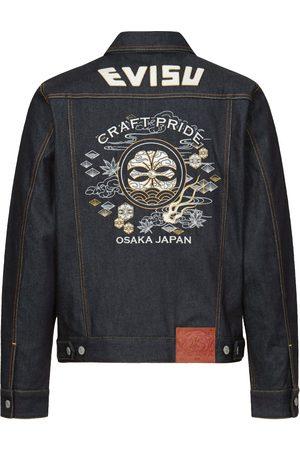 Evisu Denim Jackets - Kamon and Japanese Pattern Embroidered Denim Jacket