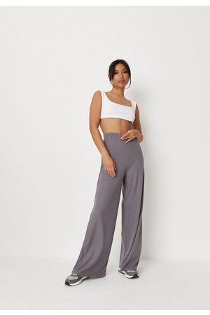 Missguided Charcoal Waffle Wide Leg Trousers