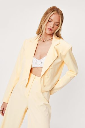 NASTY GAL Womens Oversized Shoulder Pad Cropped Tailored Blazer
