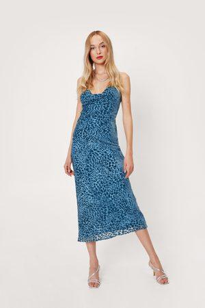 NASTY GAL Womens Animal Print Cowl Neck Midi Slip Dress