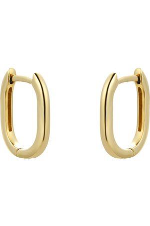 GOLDSMITHS Women Earrings - 9ct Yellow Gold Rectangular Small Huggie Earring