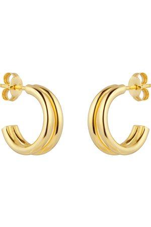 GOLDSMITHS Women Earrings - 9ct Yellow Gold Double Layer Hoop Earrings