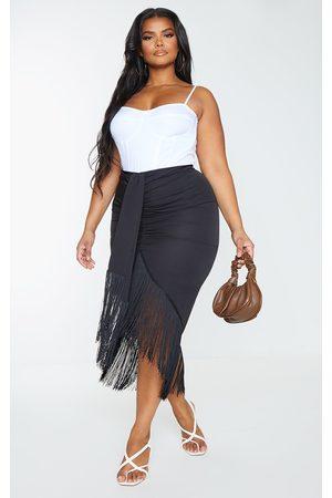 PRETTYLITTLETHING Plus Tassel Hem Midi Skirt