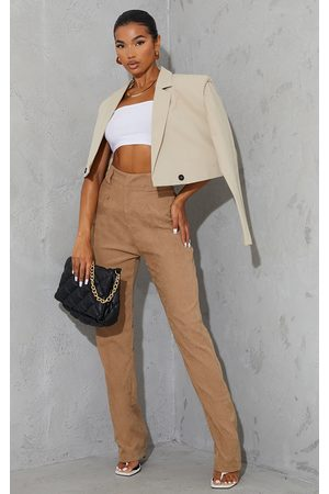 PRETTYLITTLETHING Taupe Premium Twill Blend Pleat Detail Trousers