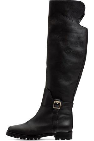 Manolo Blahnik 25mm Tamara Leather Tall Boots