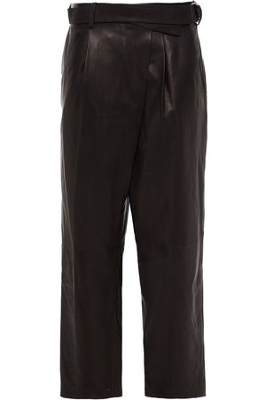 HELMUT LANG Woman Cropped Belted Pleated Leather Tapered Pants Size 0