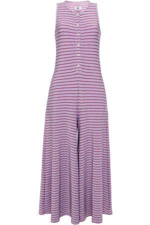 MM6 MAISON MARGIELA Woman Striped Metallic Jersey Wide-leg Jumpsuit Lilac Size L