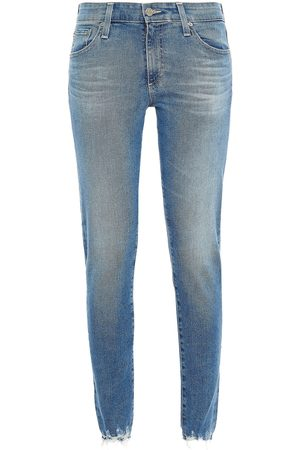 AG Jeans Women Skinny - Woman Distressed Mid-rise Skinny Jeans Mid Denim Size 23