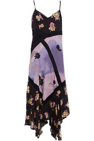 COACH Woman Flocked Chiffon-paneled Printed Cupro Midi Dress Charcoal Size 10