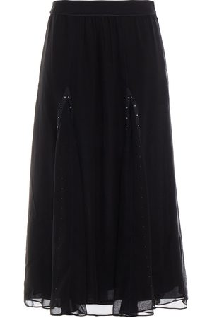 Coach Women Leather Skirts - Woman Leather-trimmed Studded Cupro Midi Skirt Size 10